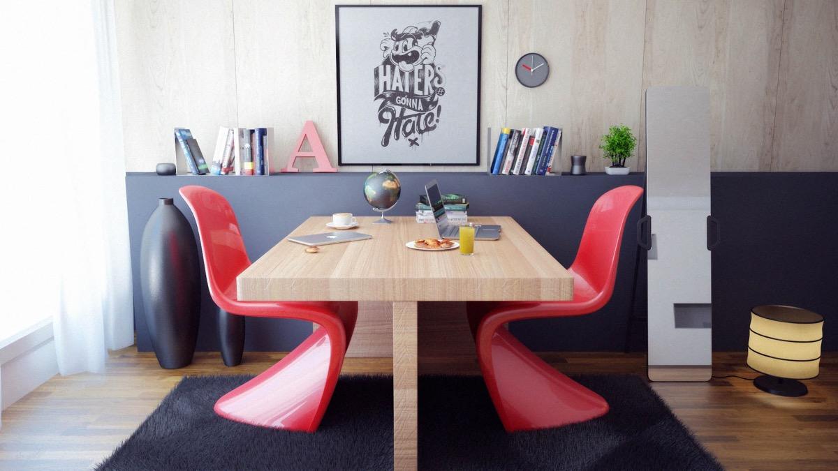 minimalist back to back workspace