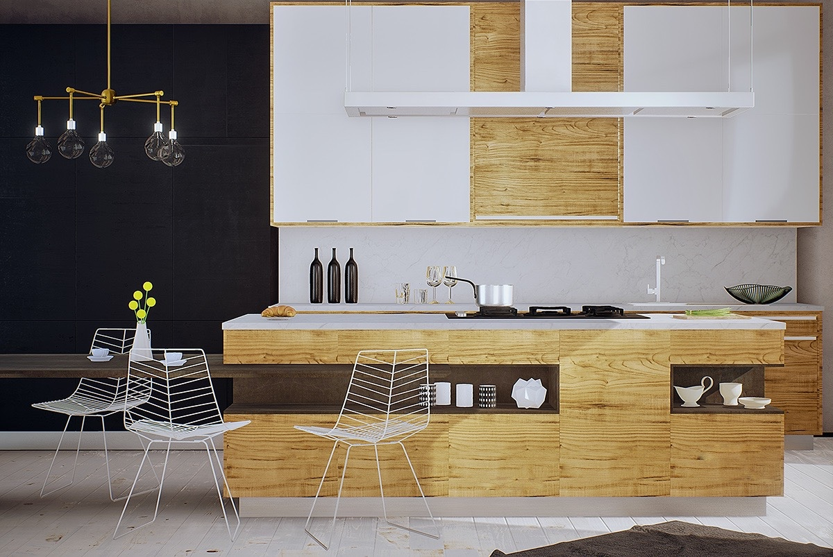 minimalist white-and-wood-kitchen