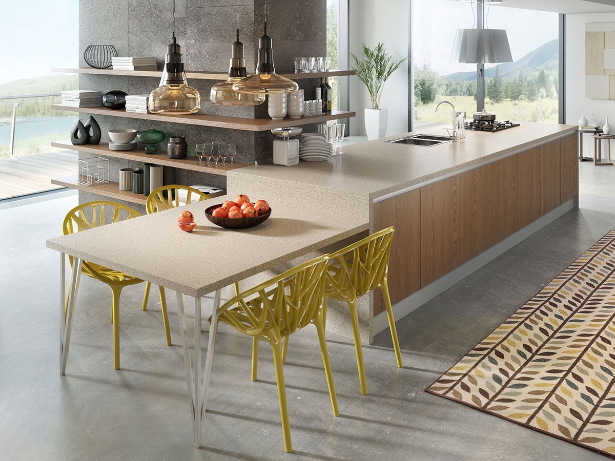 modern kitchen with yellow-kitchen-chairs