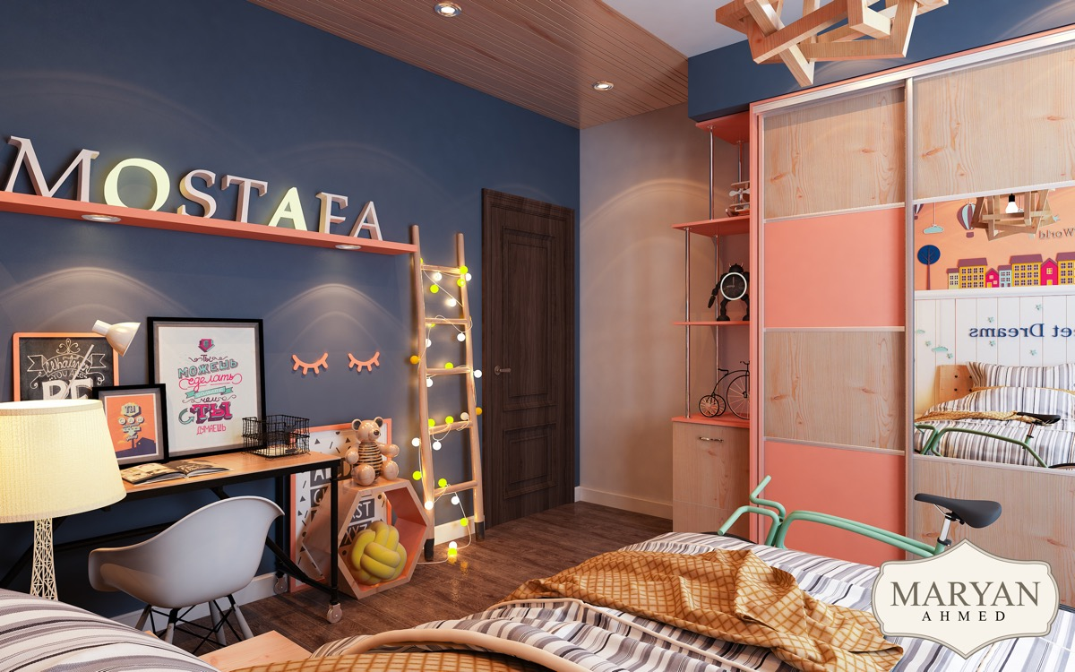navy-and-pink kids room design