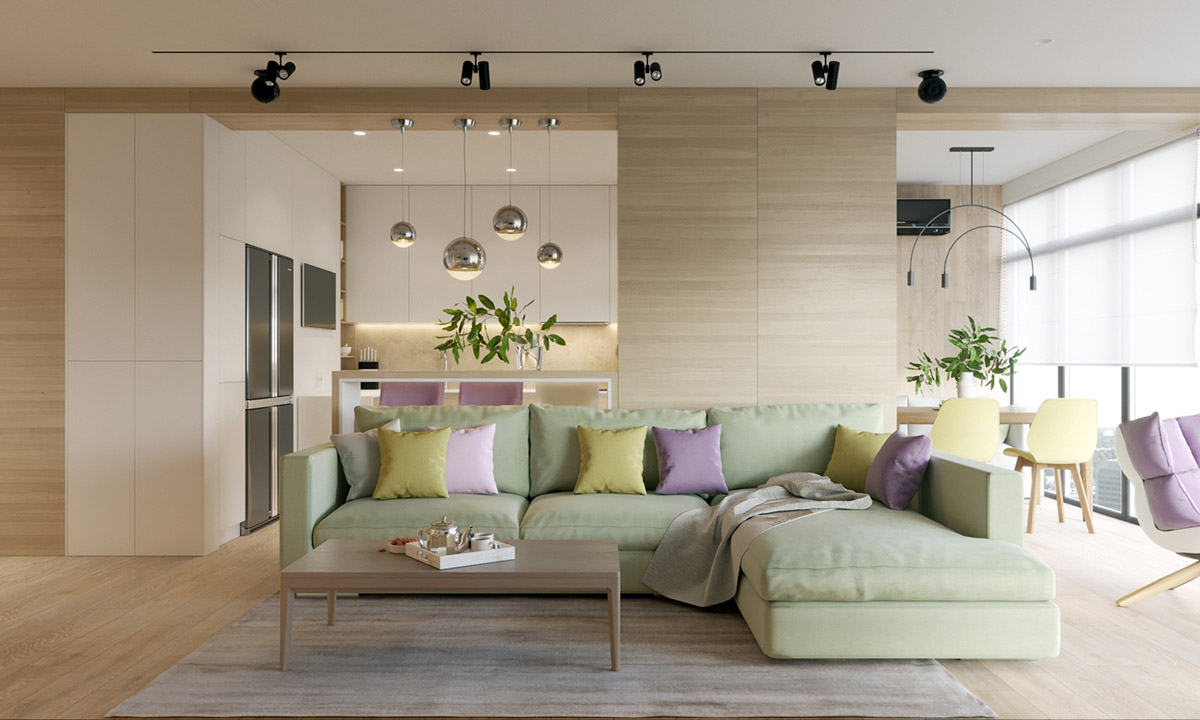 Modern house design using a wooden accent and pastel color for Interior motives accents and designs