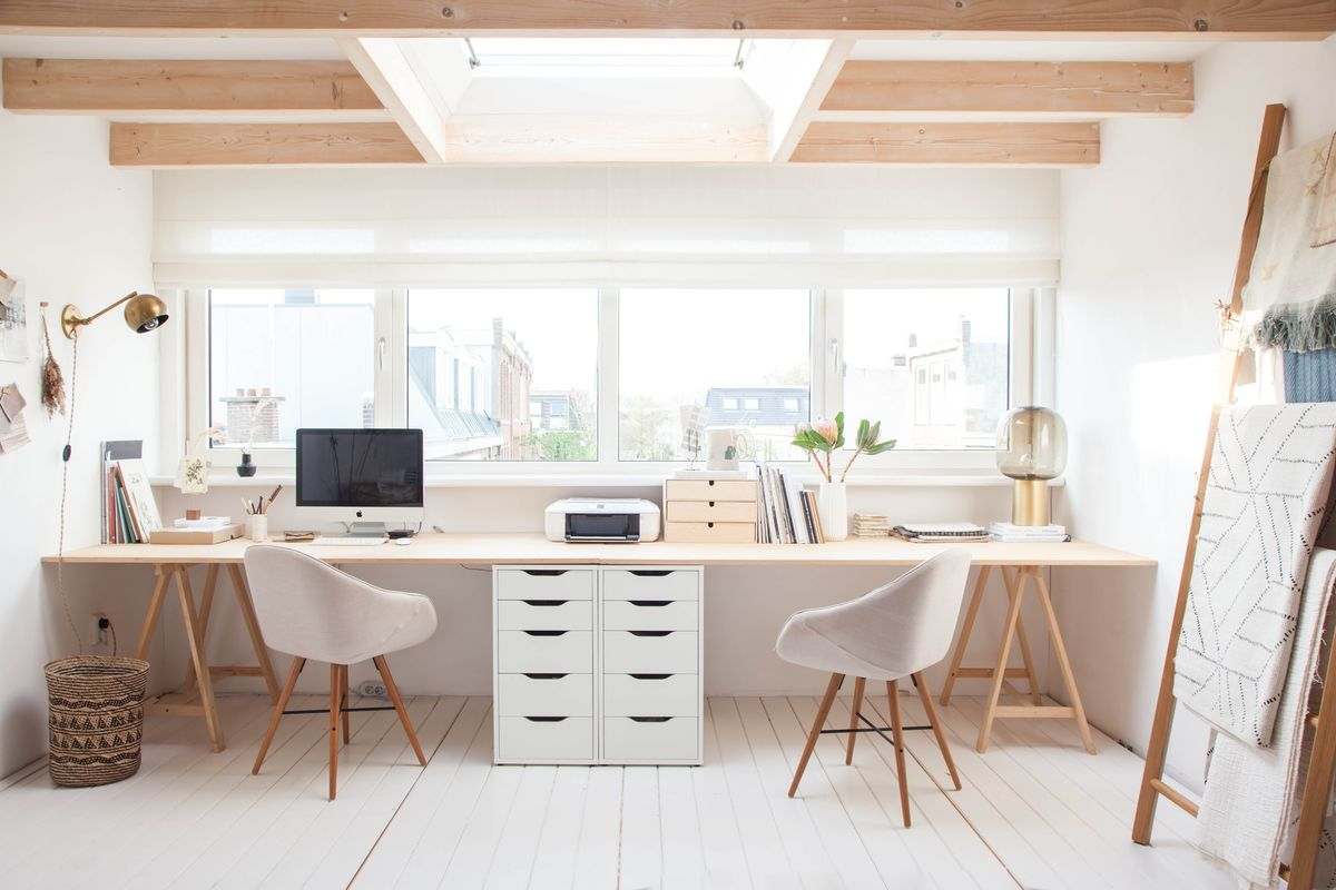 white wooden workspace design