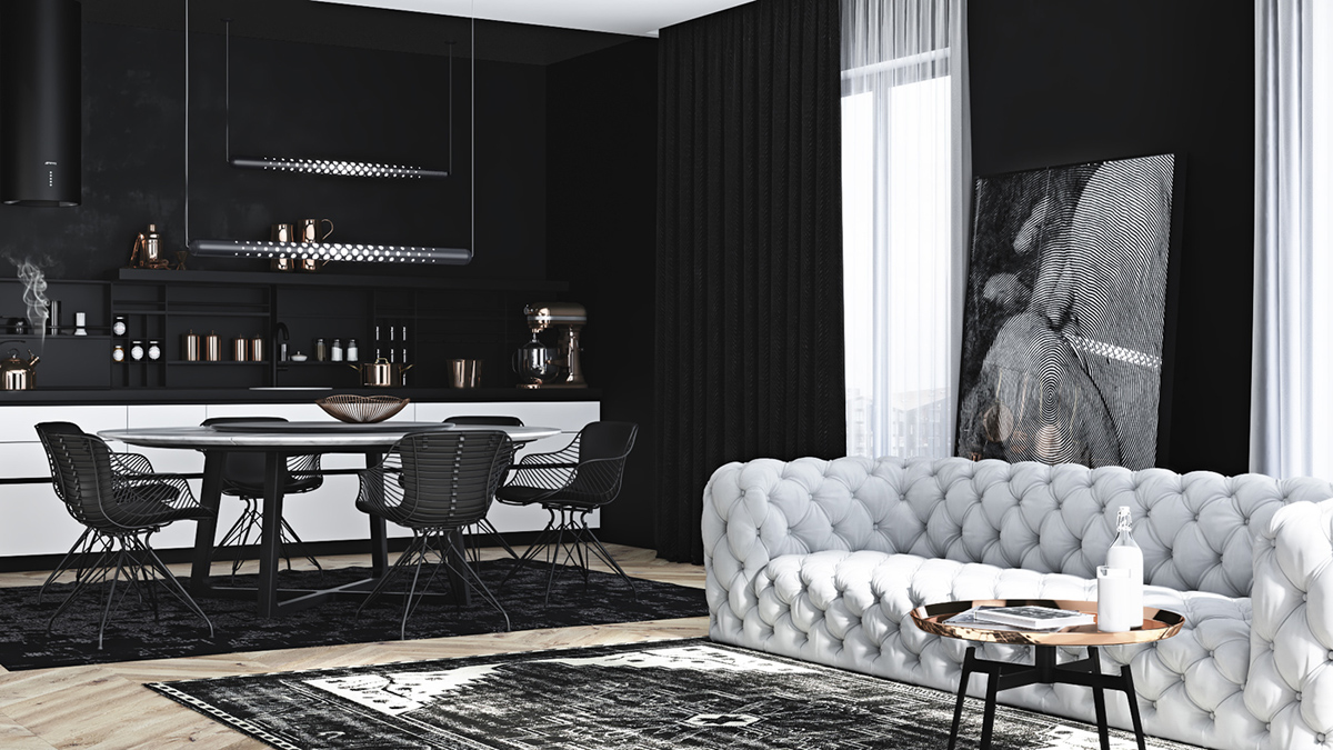 black-and-gray open plan interior