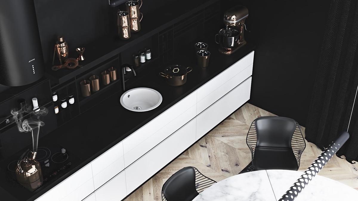 black-and-white-decor kitchen cabinets