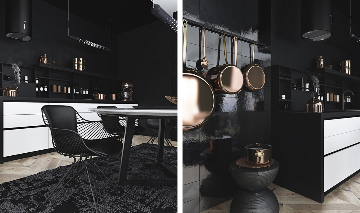 Stylish simple home design with monochrome color schemes for Black kitchen designs