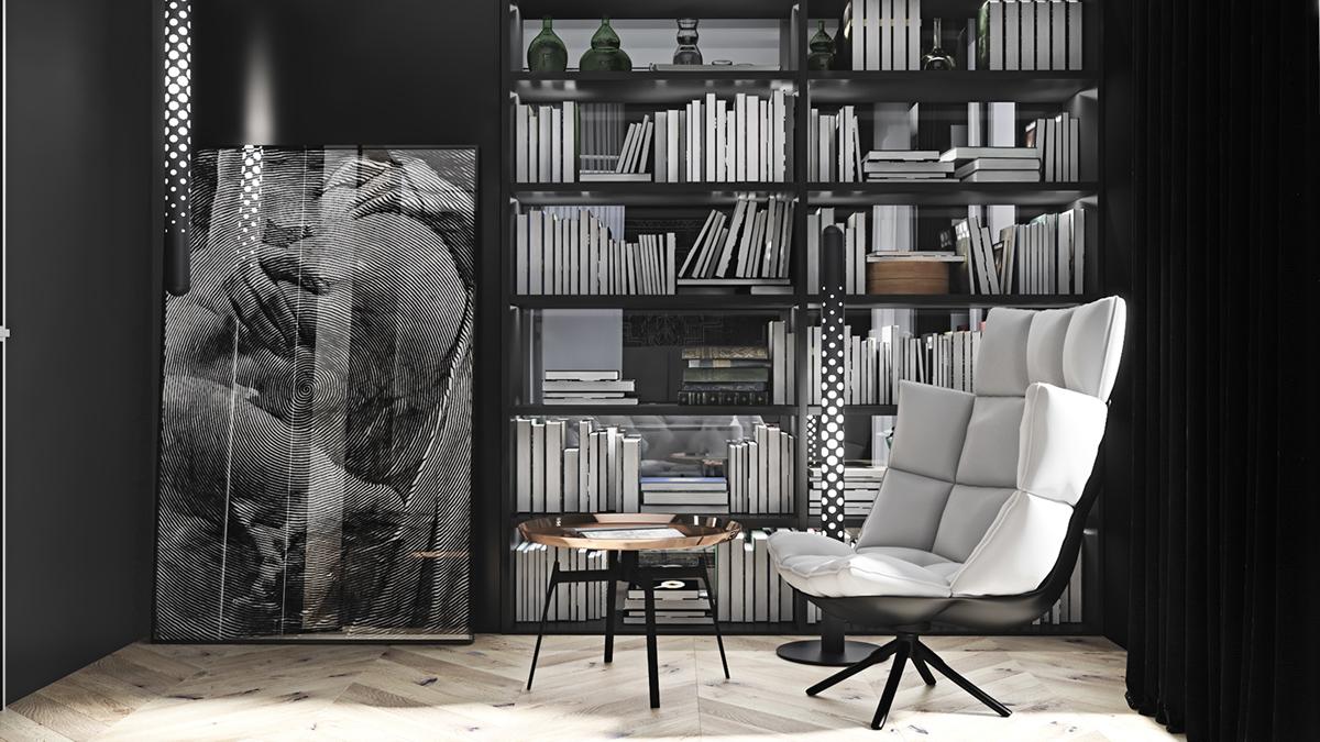 mini black-library-design ideas
