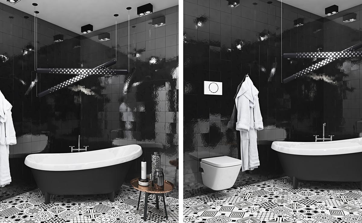 black-tile-bathroom design ideas