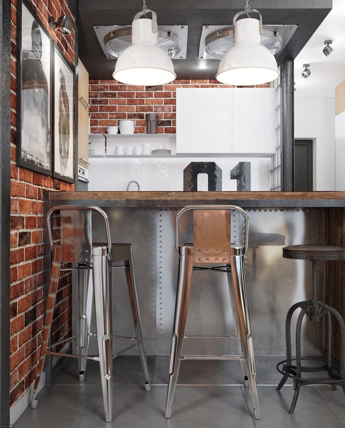 brick-and-metal kitchen bar stool