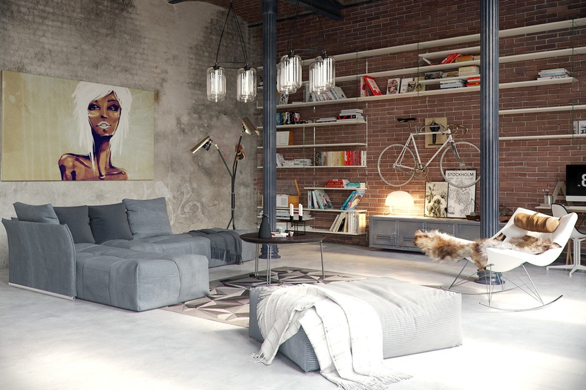 industrial style for living room design apply with concrete, brick