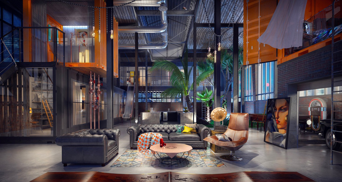 Industrial Style For Living Room Design
