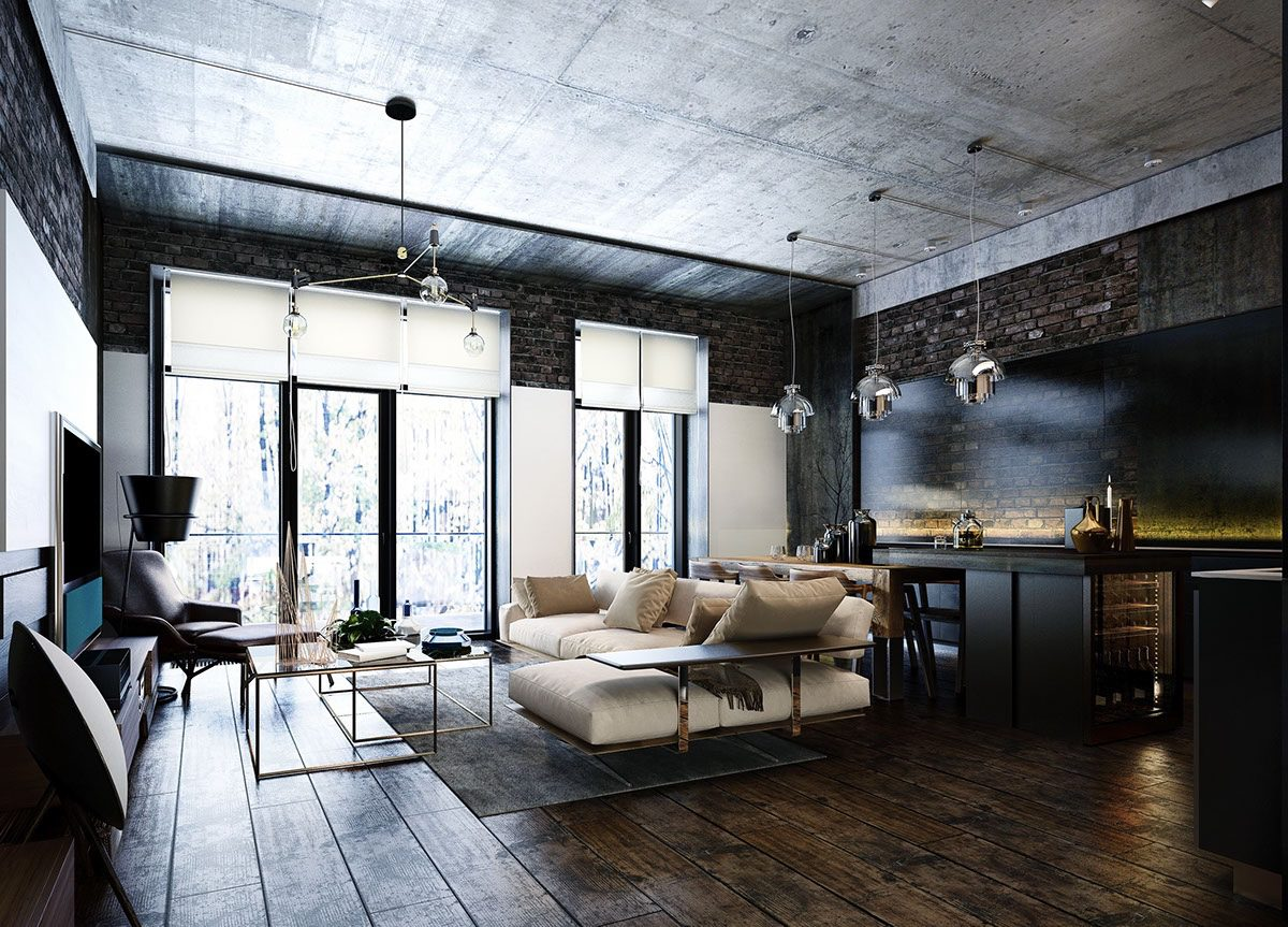 Industrial style 3 modern bachelor apartment design for Modern contemporary decor