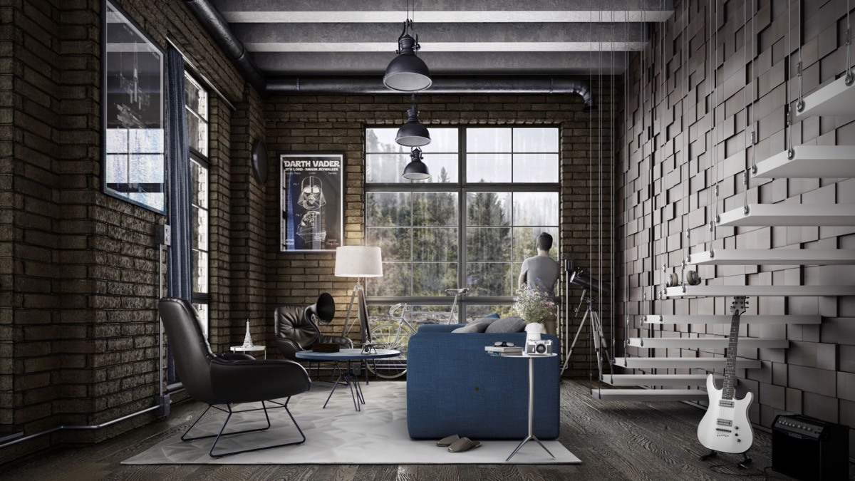 dark-grey-exposed-brick-industrial-interior-design-living-room