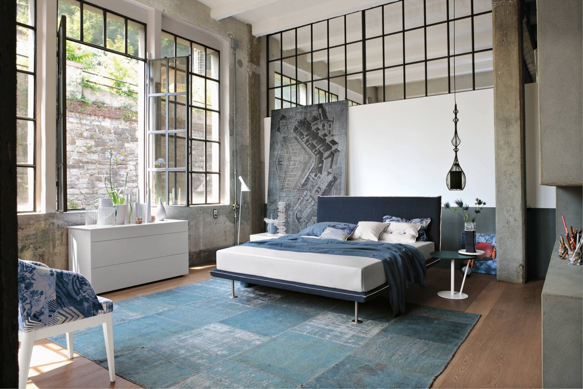 Trendy industrial bedroom design with gray and white color for Bedroom ideas industrial