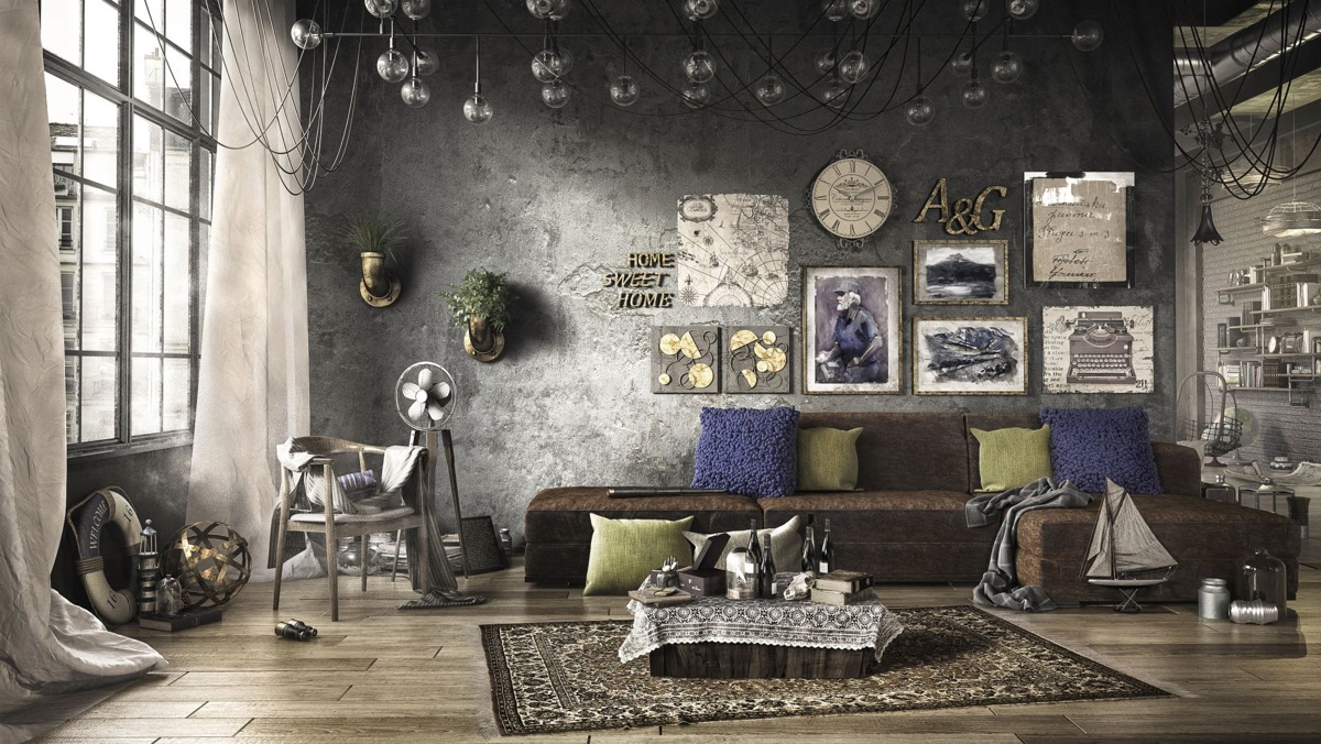 eclectic industrial living room ideas