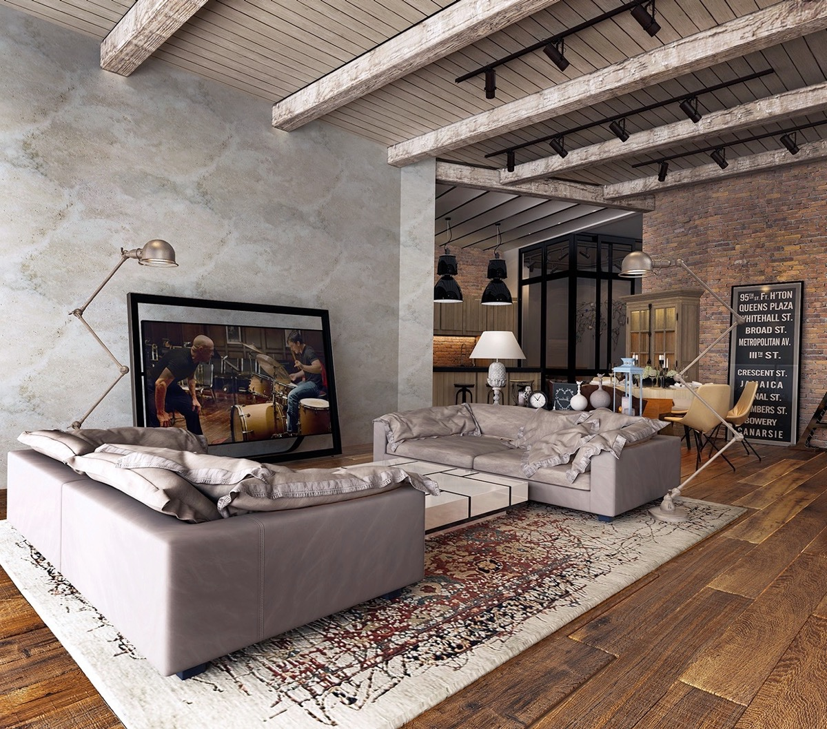 exposed-ceiling-beams-rustic-industrial-living-room