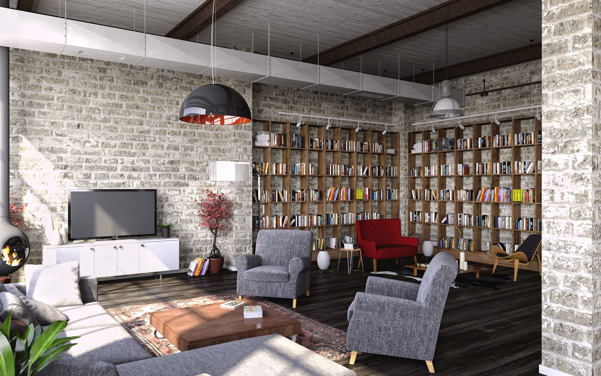 exposed-grey-brick-wall industrial-living-room
