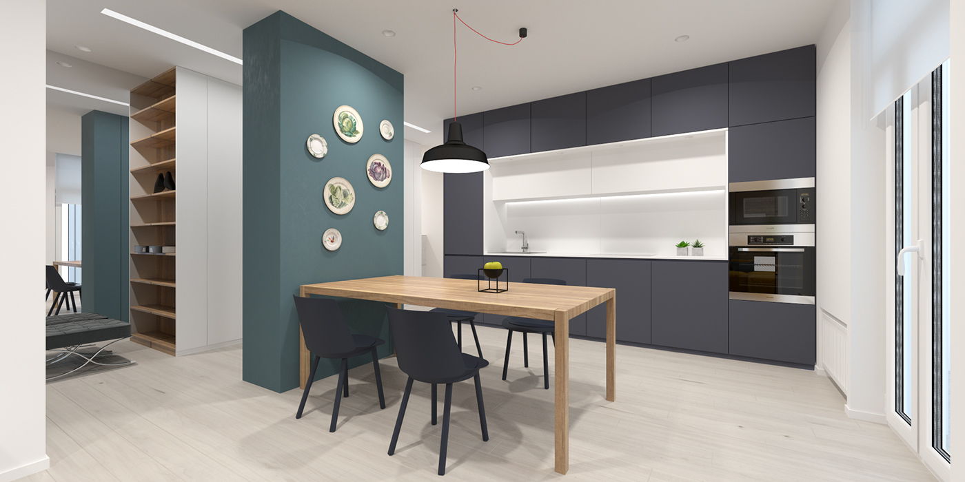 gray-and-green minimalist kitchen