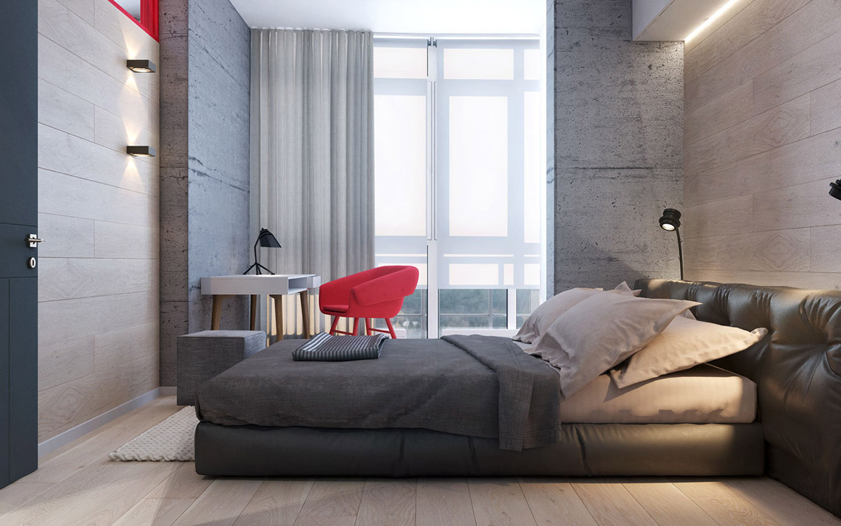 gray-and-red-bedroom