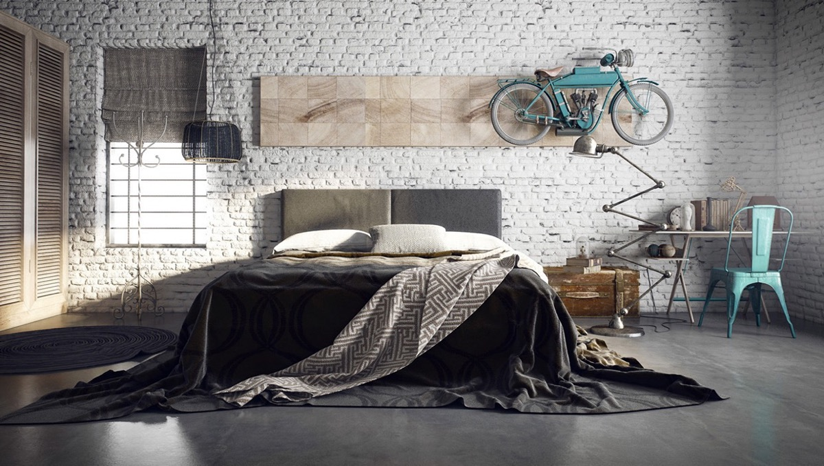 trendy industrial bedroom design with gray and white color scheme