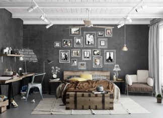 trendy industrial bedroom design