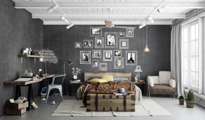 trendy industrial bedroom design