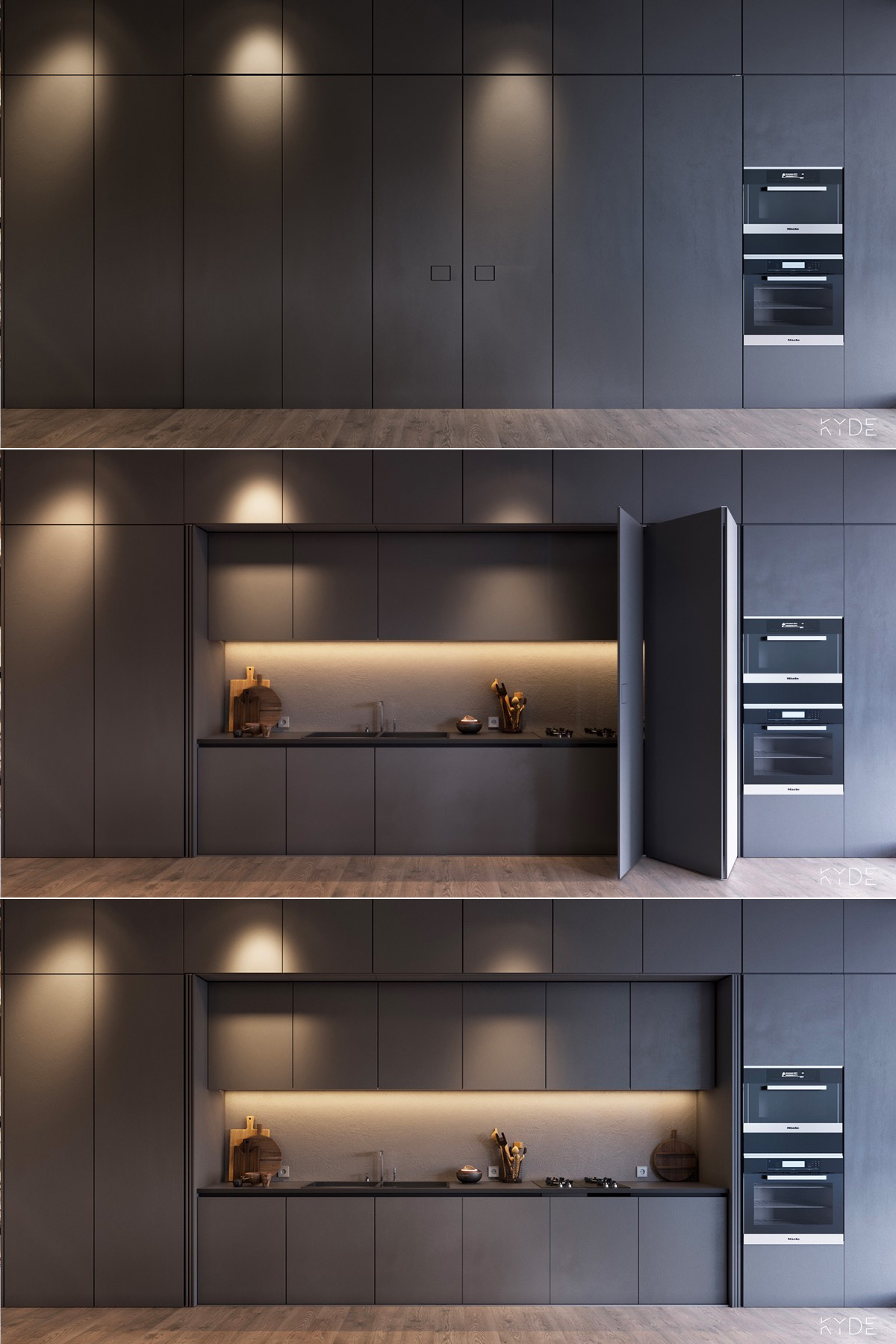 hidden-concealed- dark kitchen