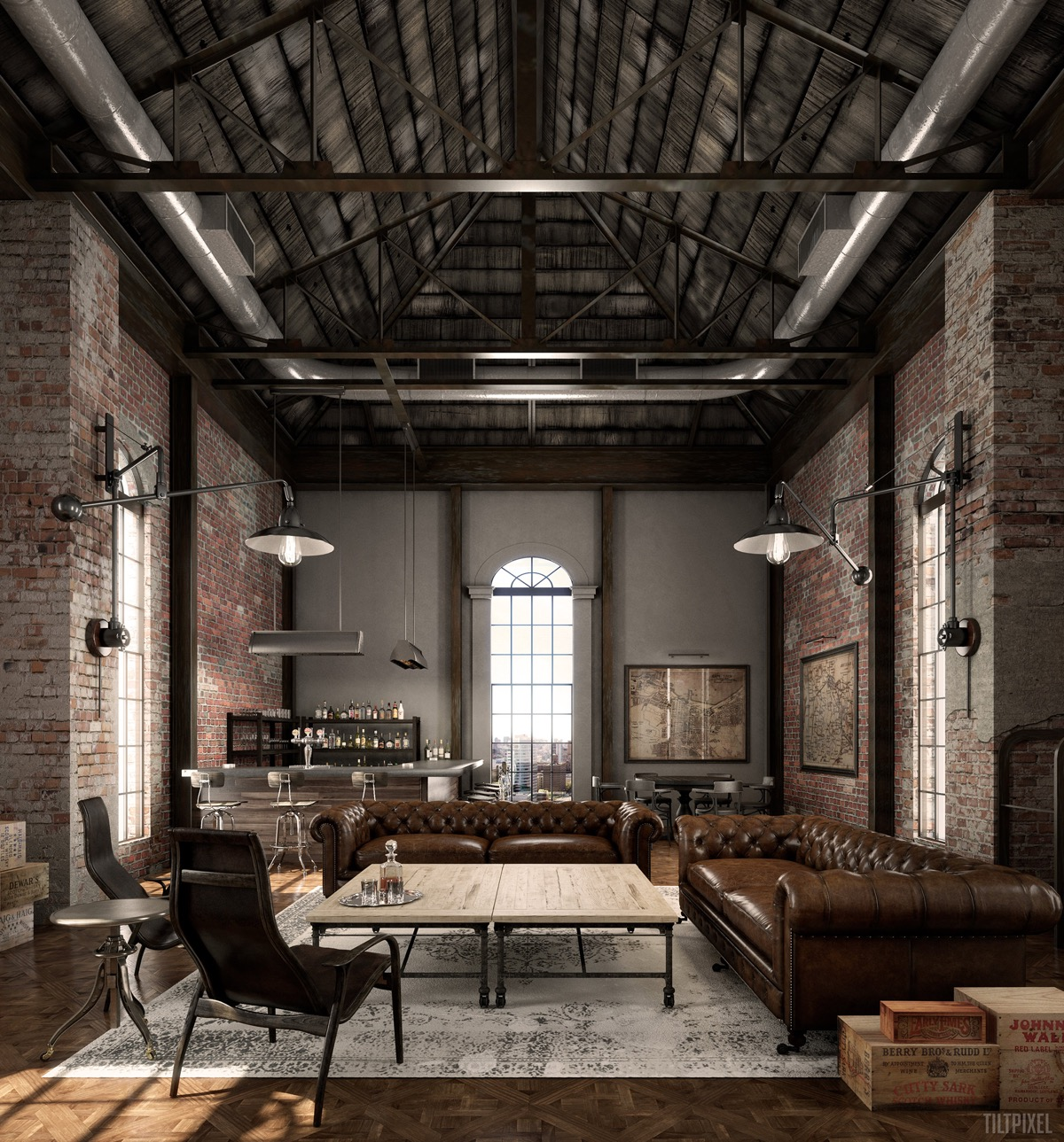 industrial-living-room-ideas with brick wall accent