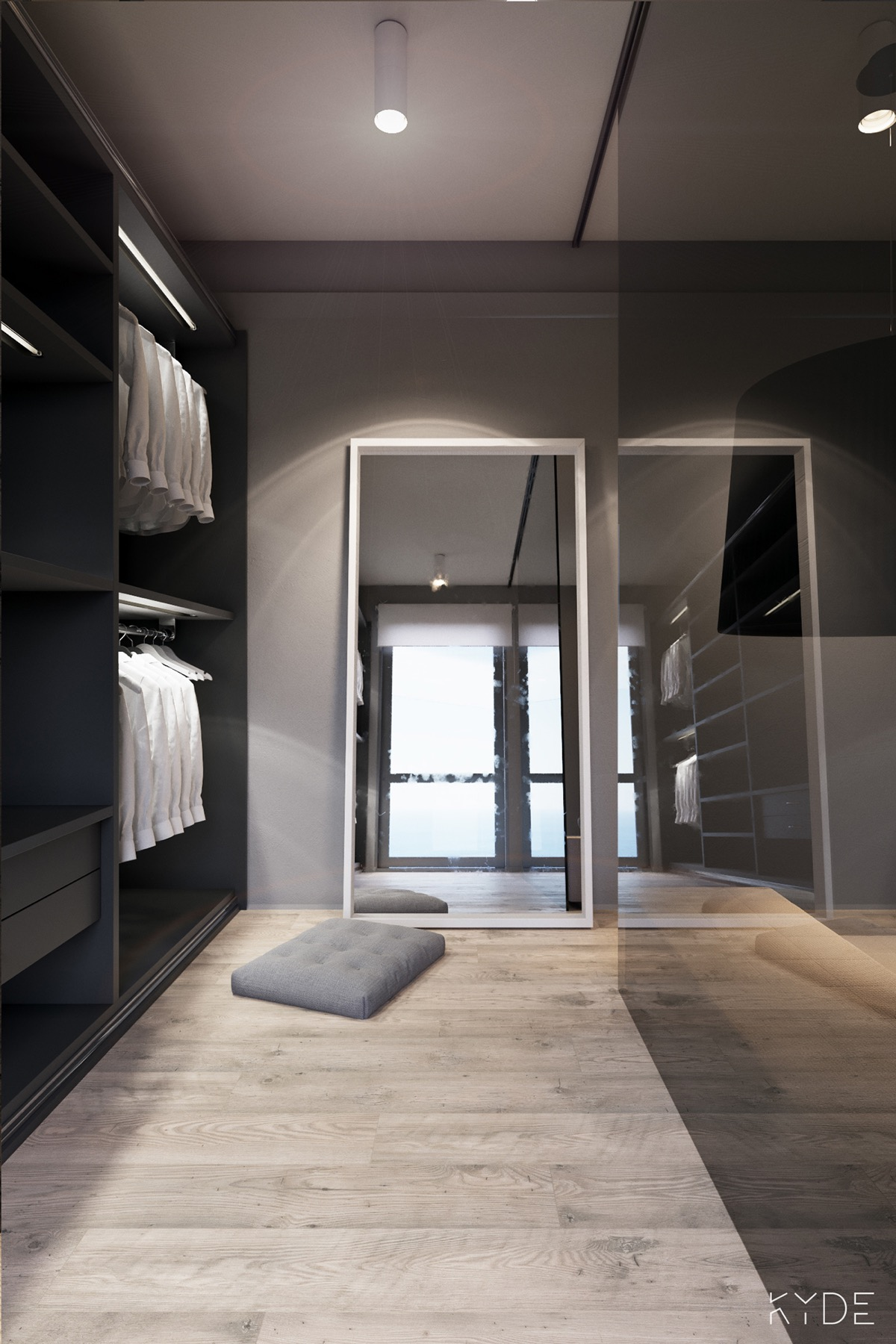light-wood-flooring for minimalist wardrobe