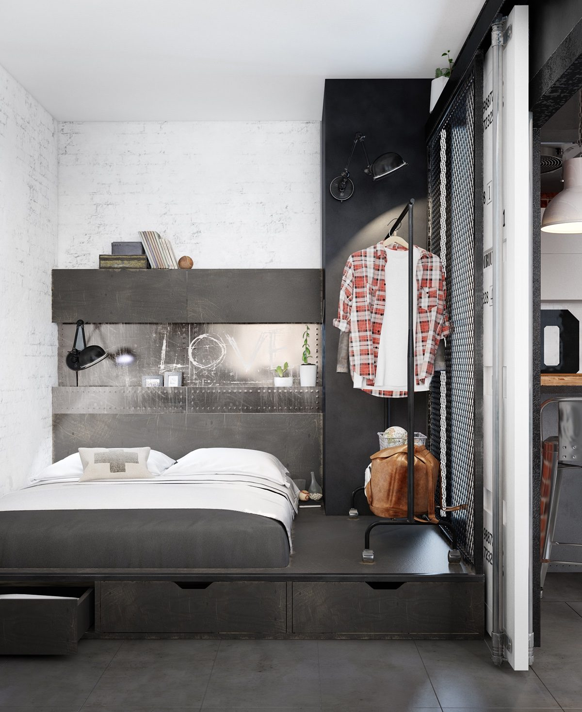 metal-shelving for bachelor bedroom