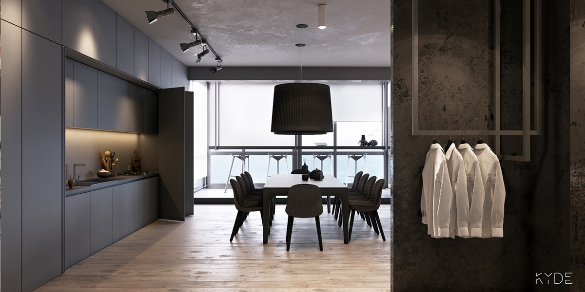 minimalist black-dining-room