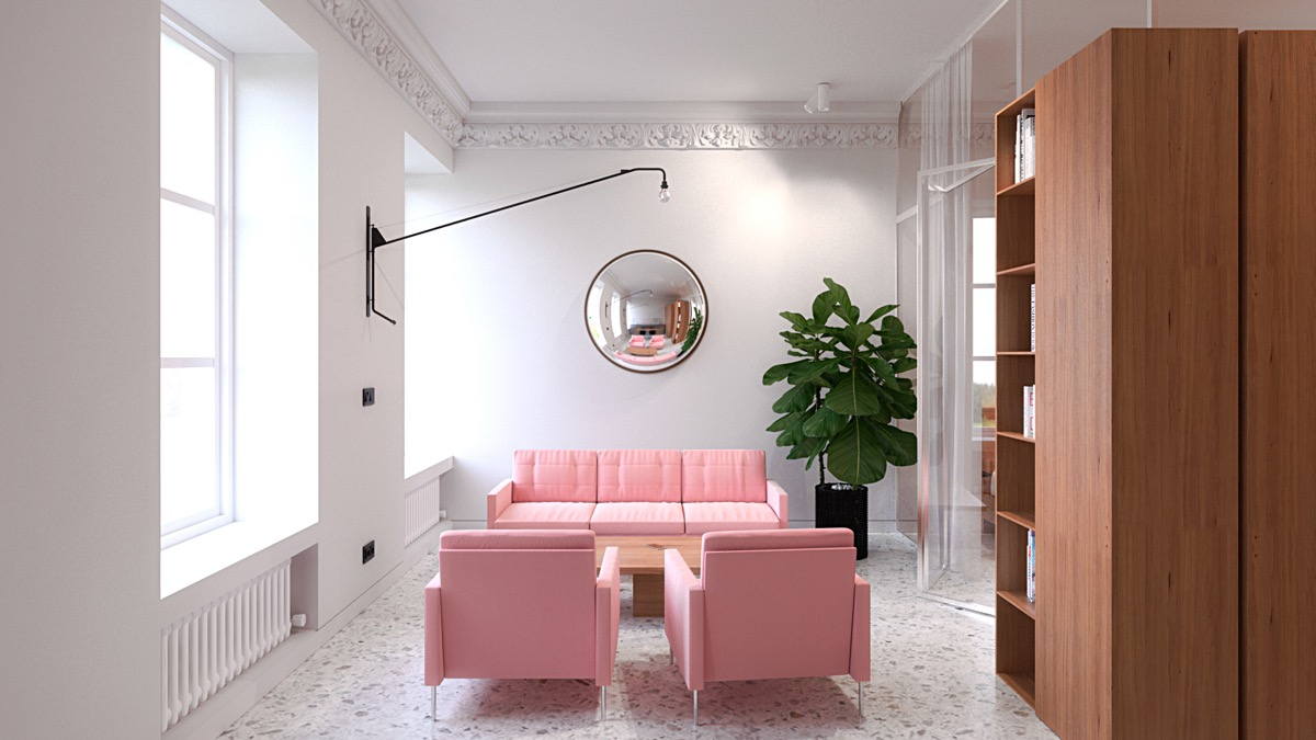 minimalist pink-living-room design