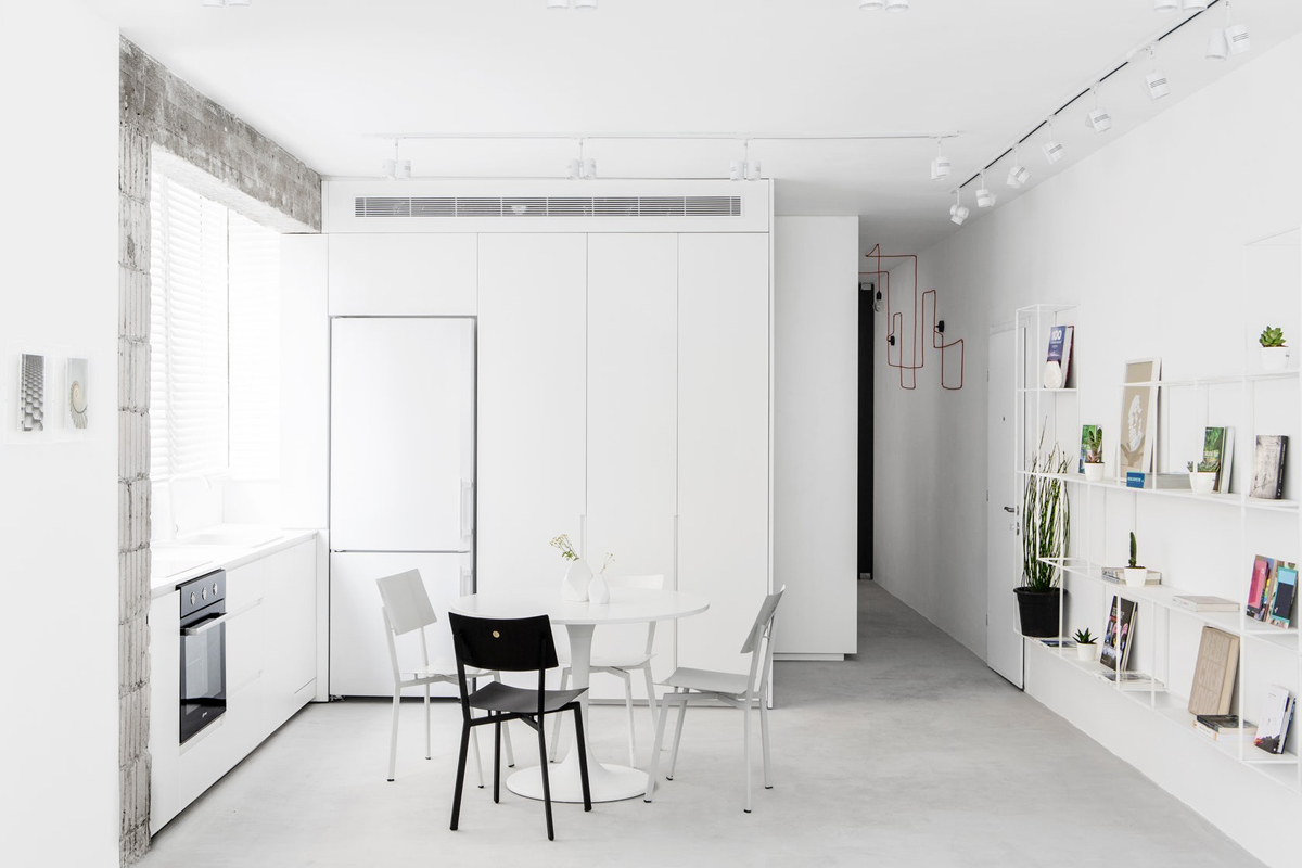 Modern minimalist apartment interior design with white and for Minimalist apartment design