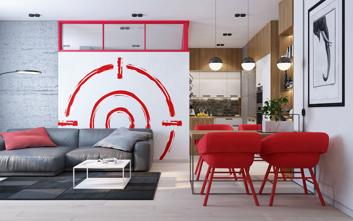 modern apartment with red color
