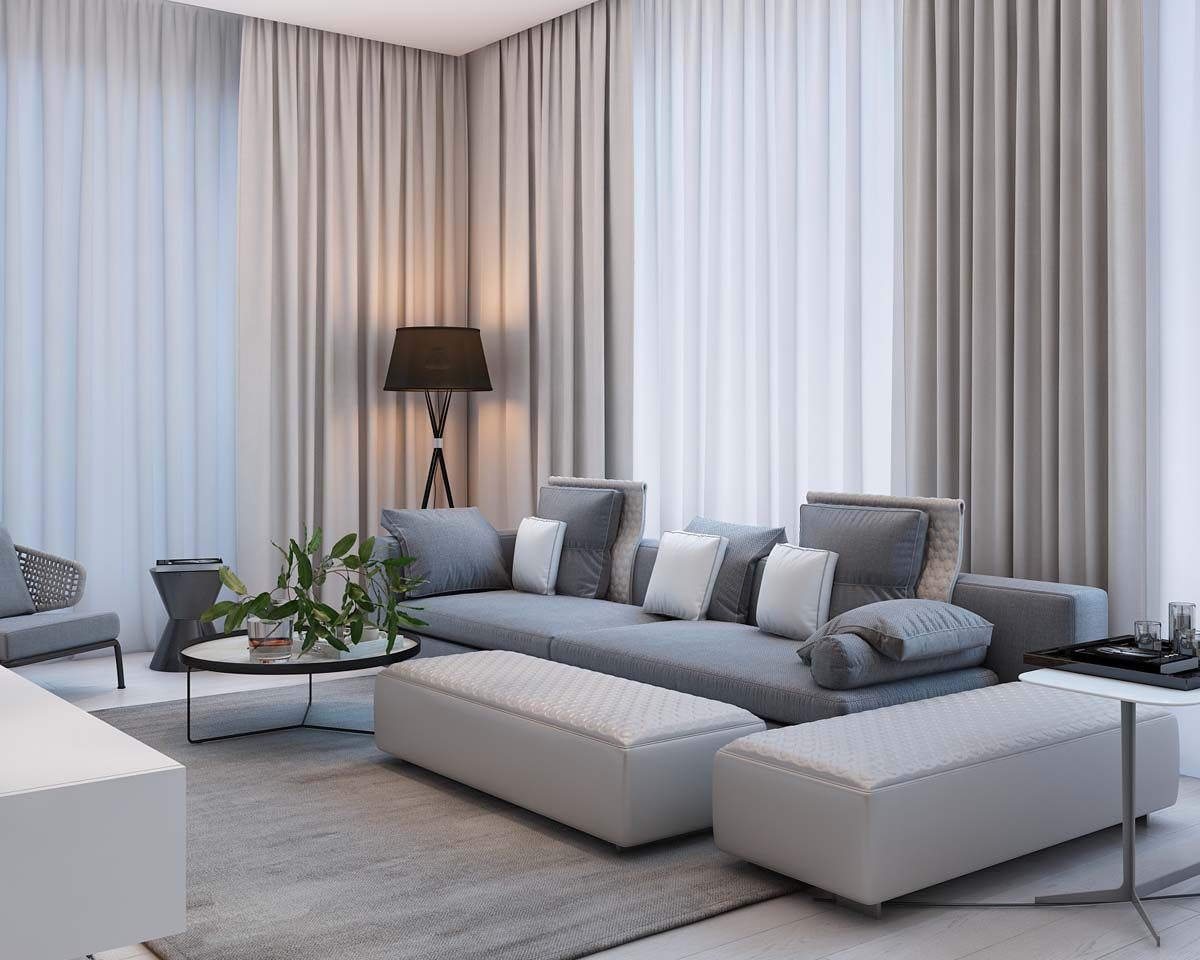 Simple modern apartment with pastel colors looks so cozy for Modern living room curtain designs pictures