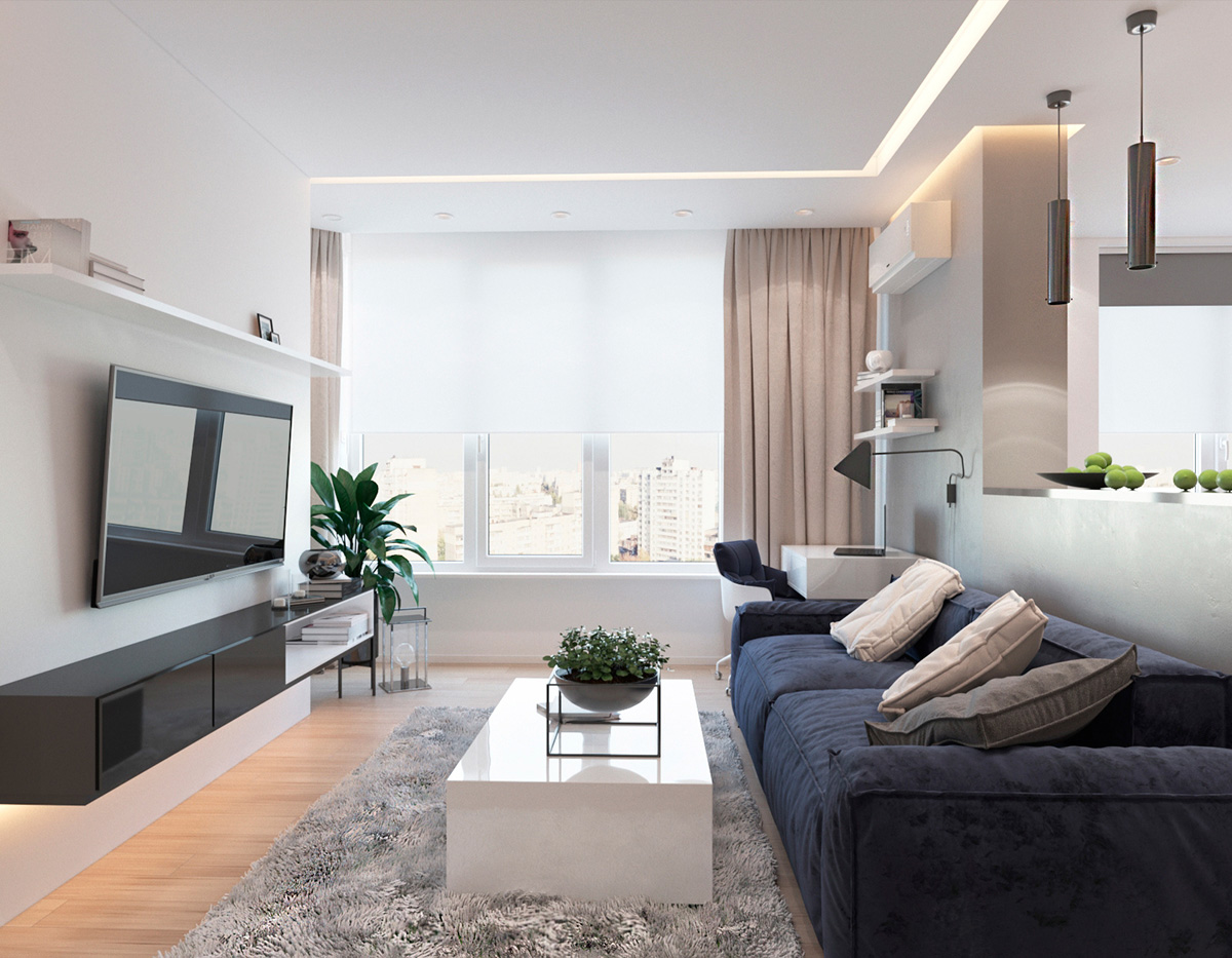 modern living room with wooden accent