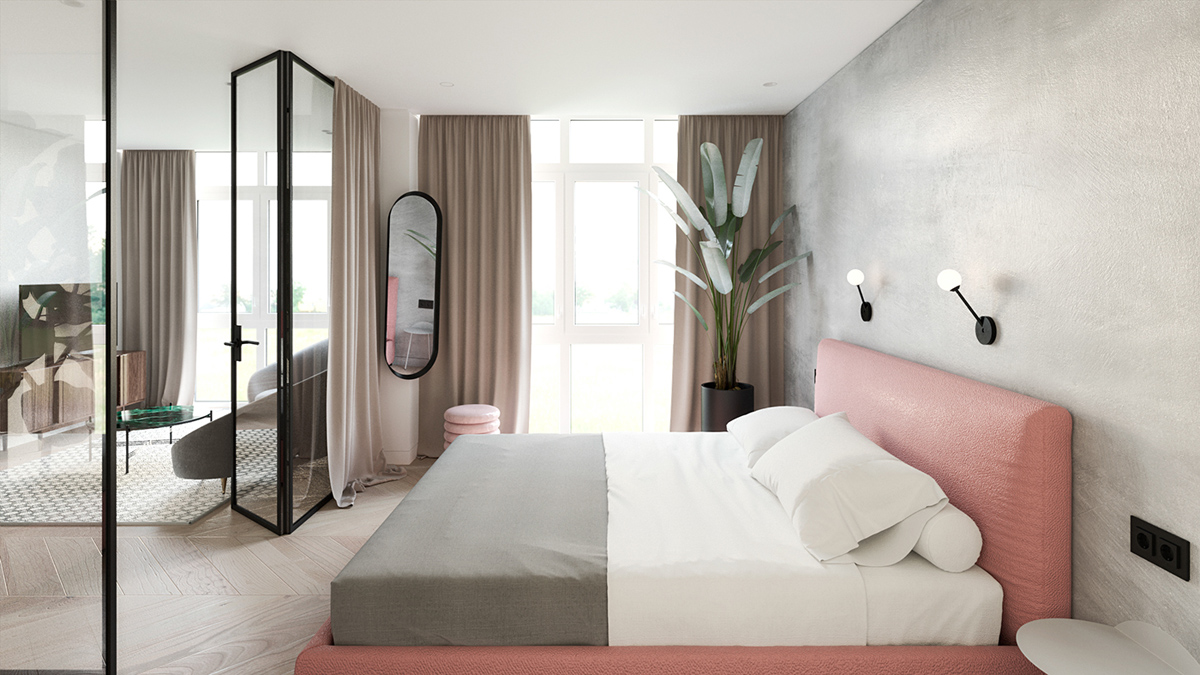 pink bed in minimalist bedroom