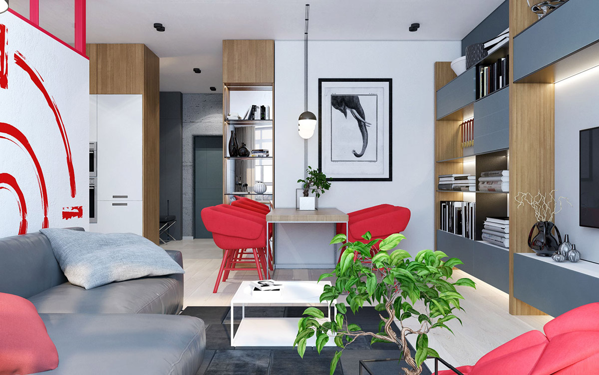 red-and-white-open plan apartment