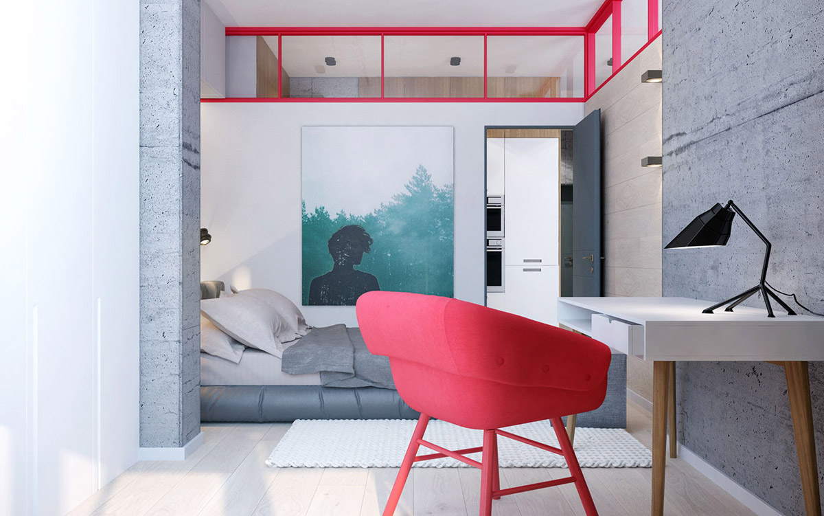 red-office-chair for modern bedroom
