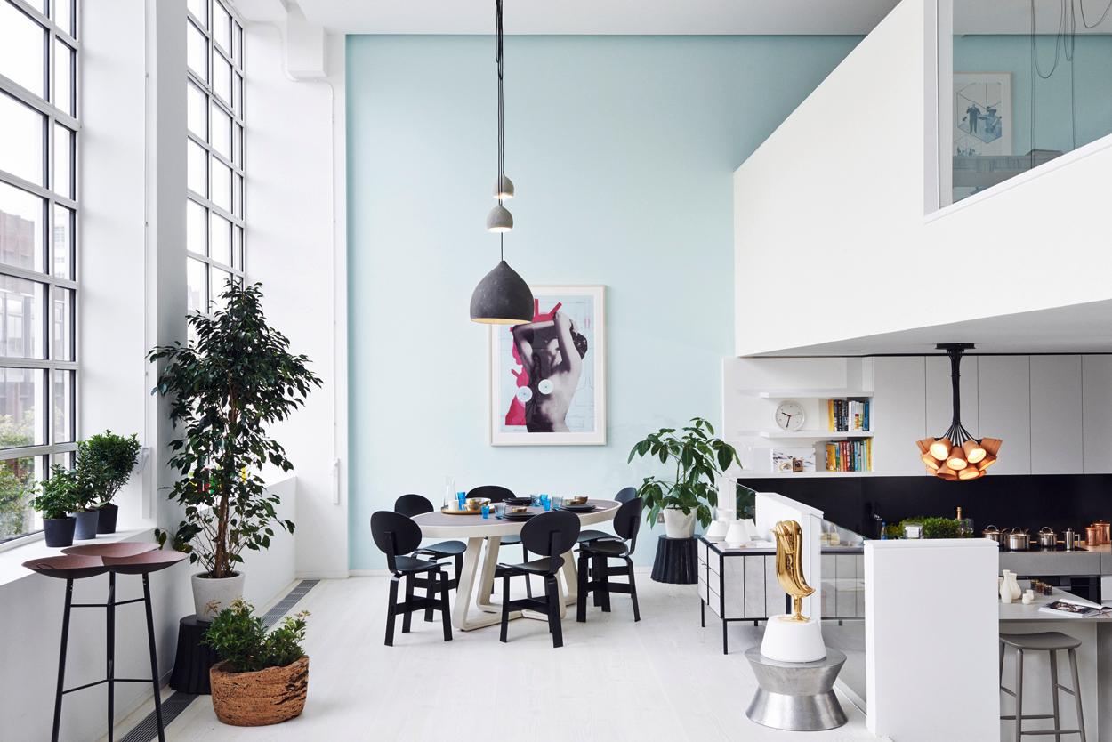 seafoam accent wall interior kitchen