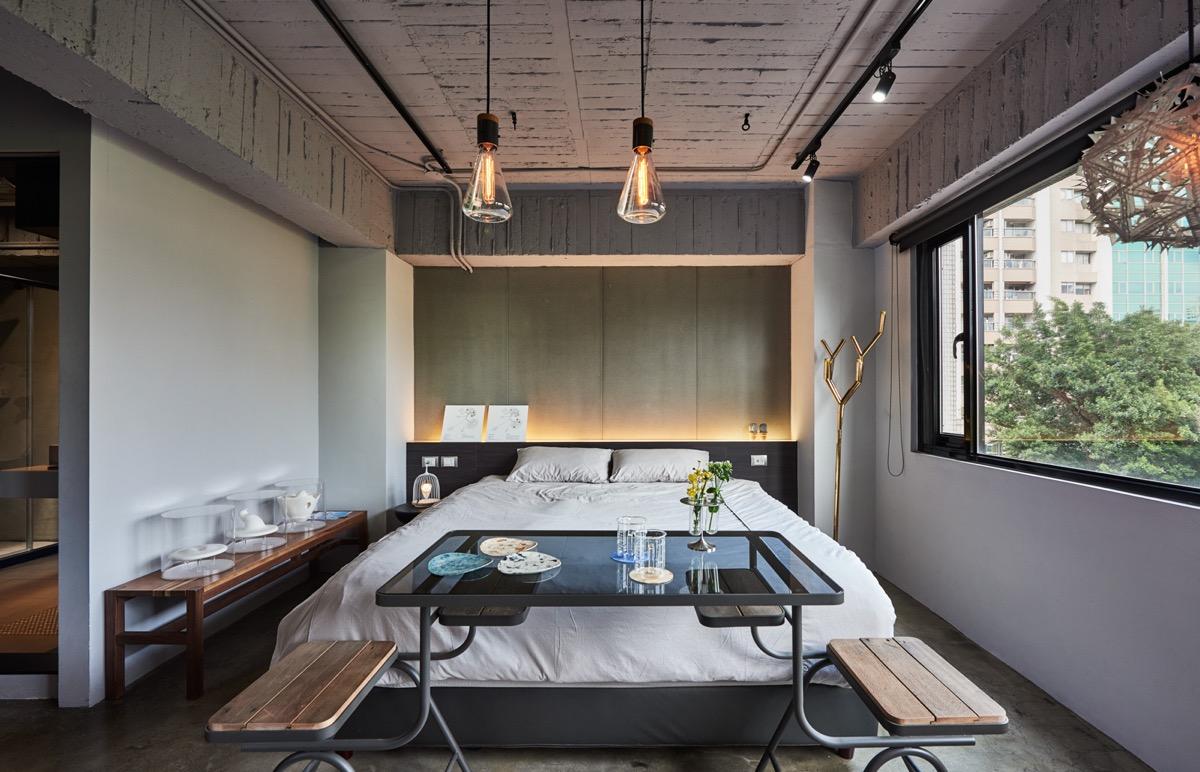 simple eclectic industrial bedroom