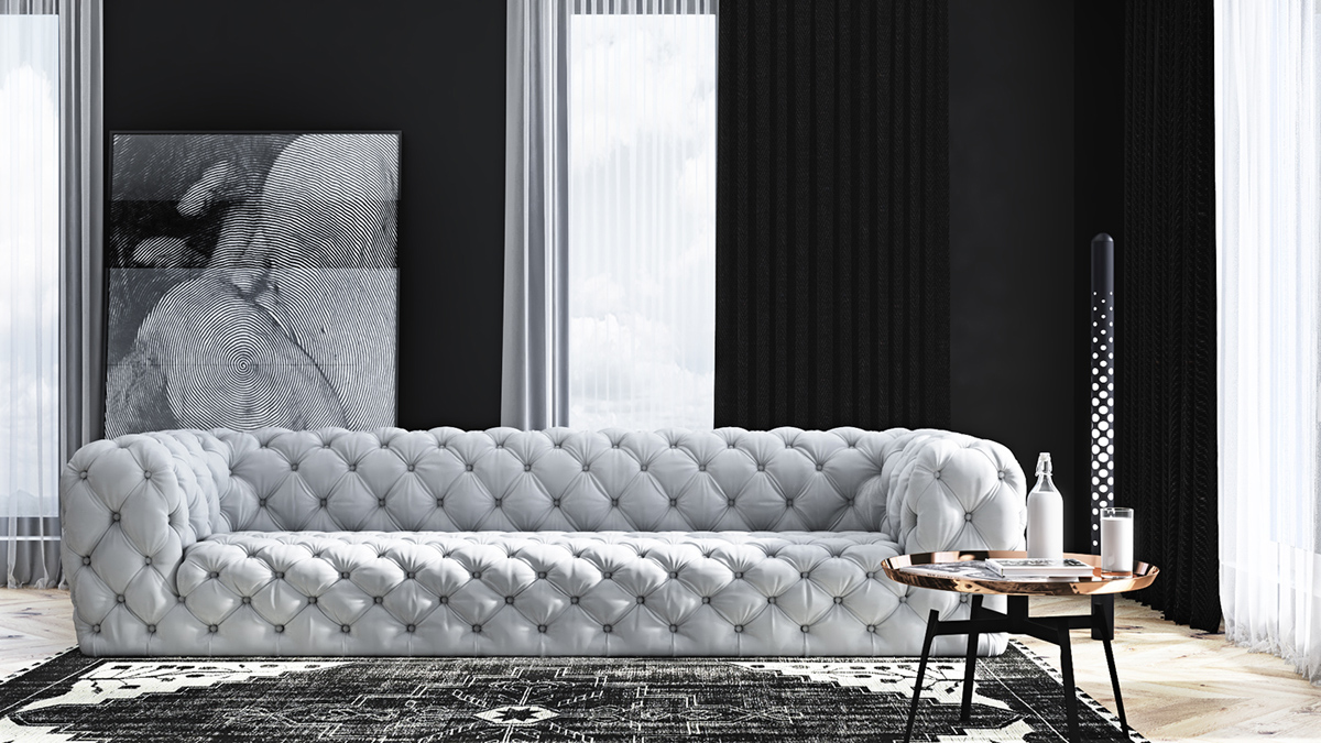 simple living room with tufted sofa