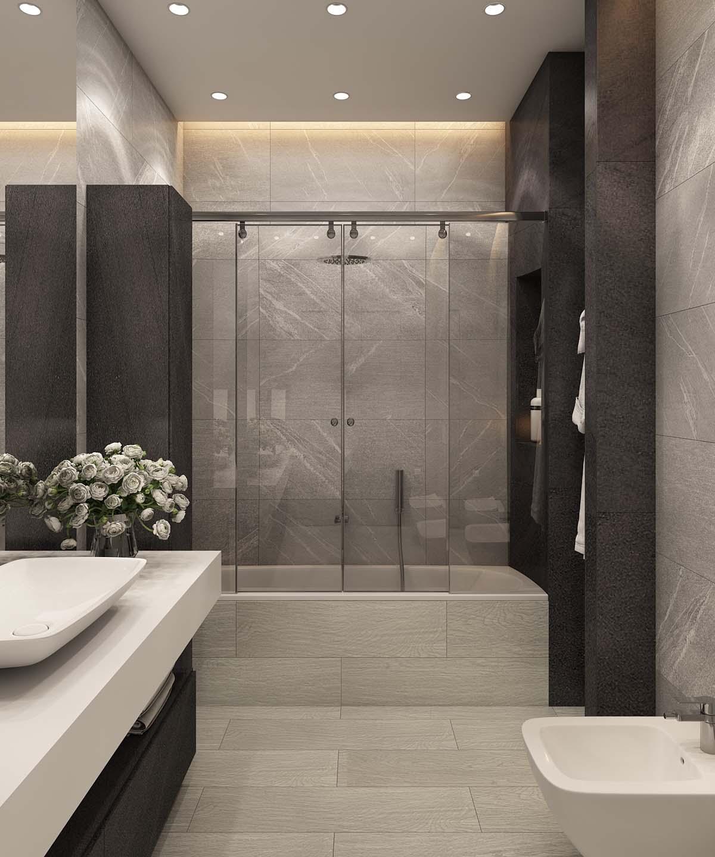 sleek gray bathroom