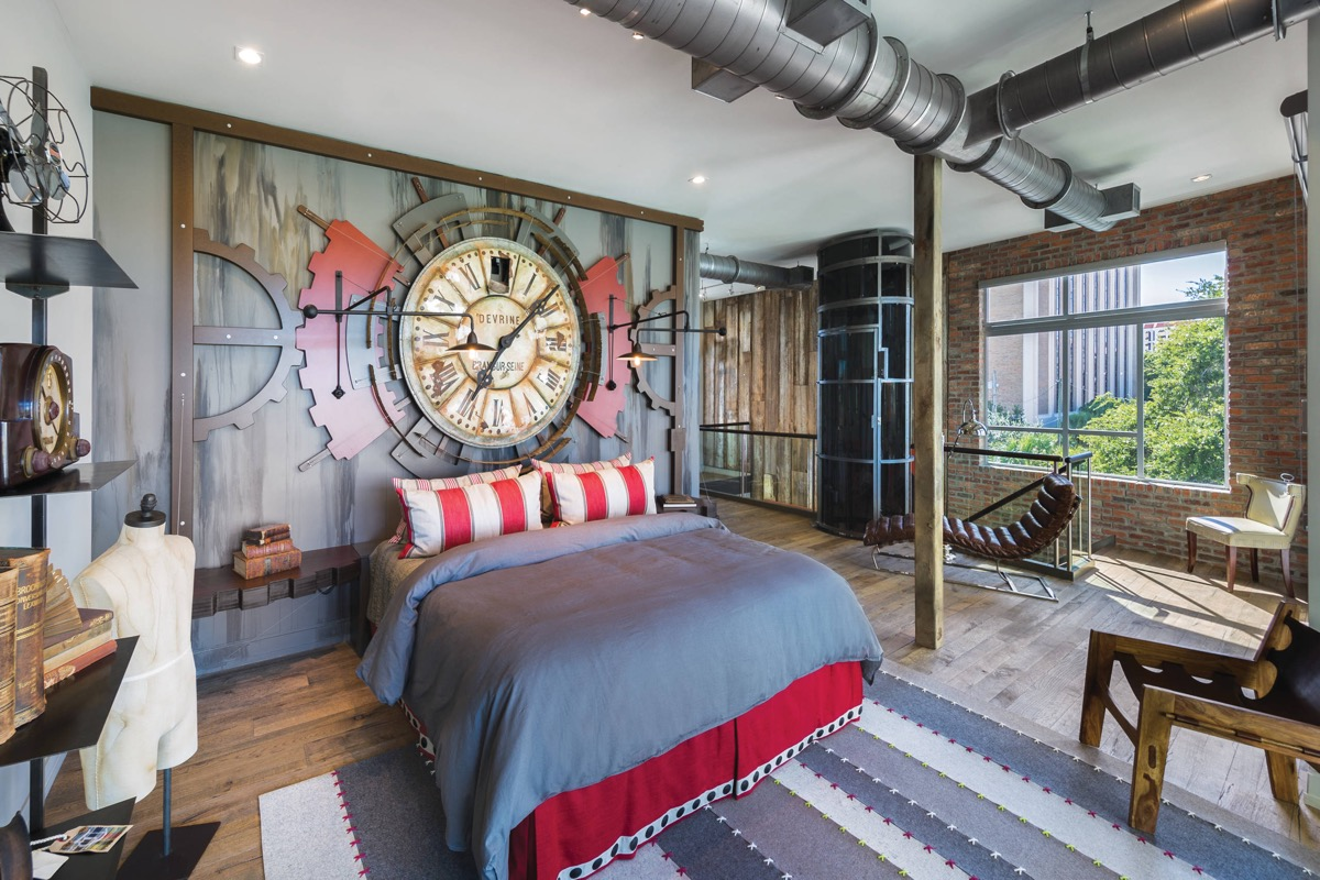 Trendy Industrial Bedroom Design With Gray And White Color Scheme. Unique Industrial  Bedroom Decor