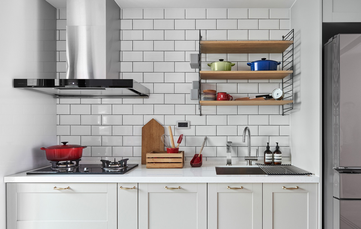 white brick kitchen design