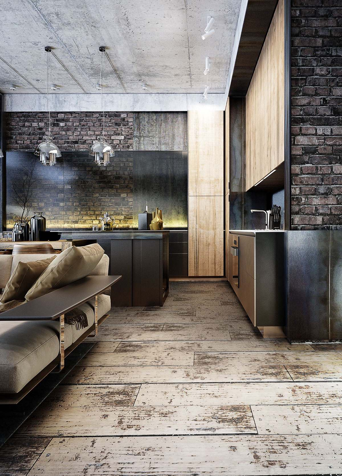 wood-and-concrete-design for kitchen