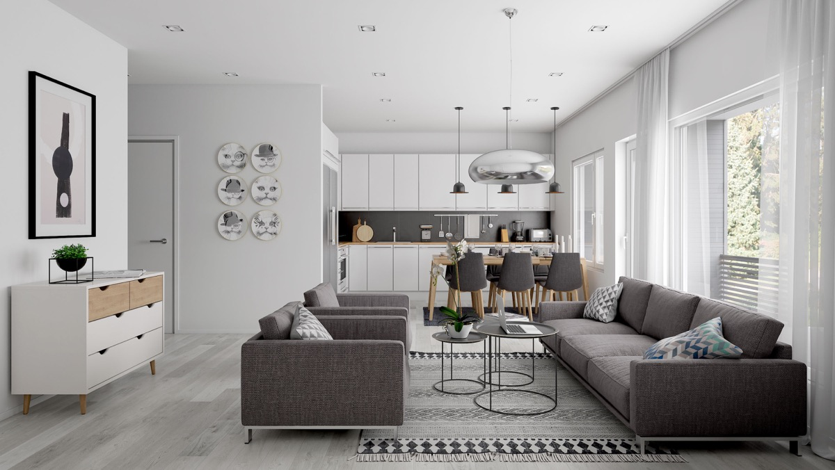 Charcoal-and-White open plan