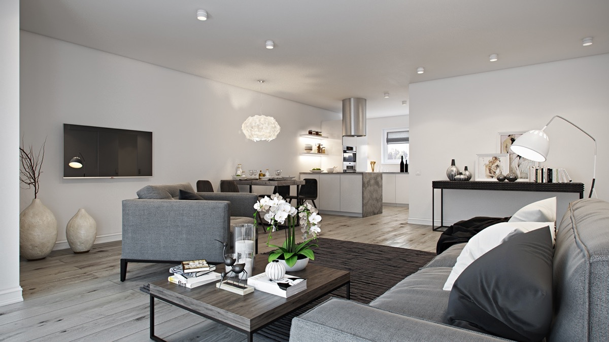 Open-Plan gray and white nuance