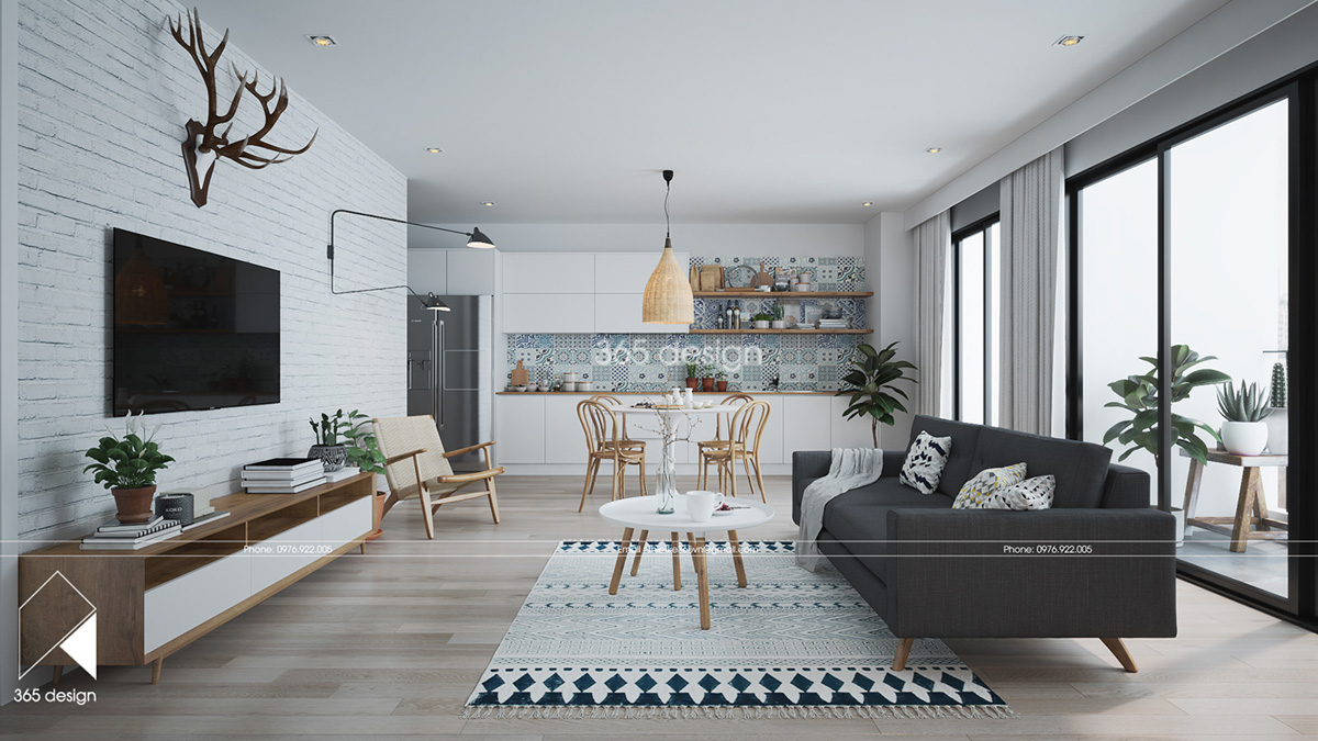 modern scandinavian design for home interior completed