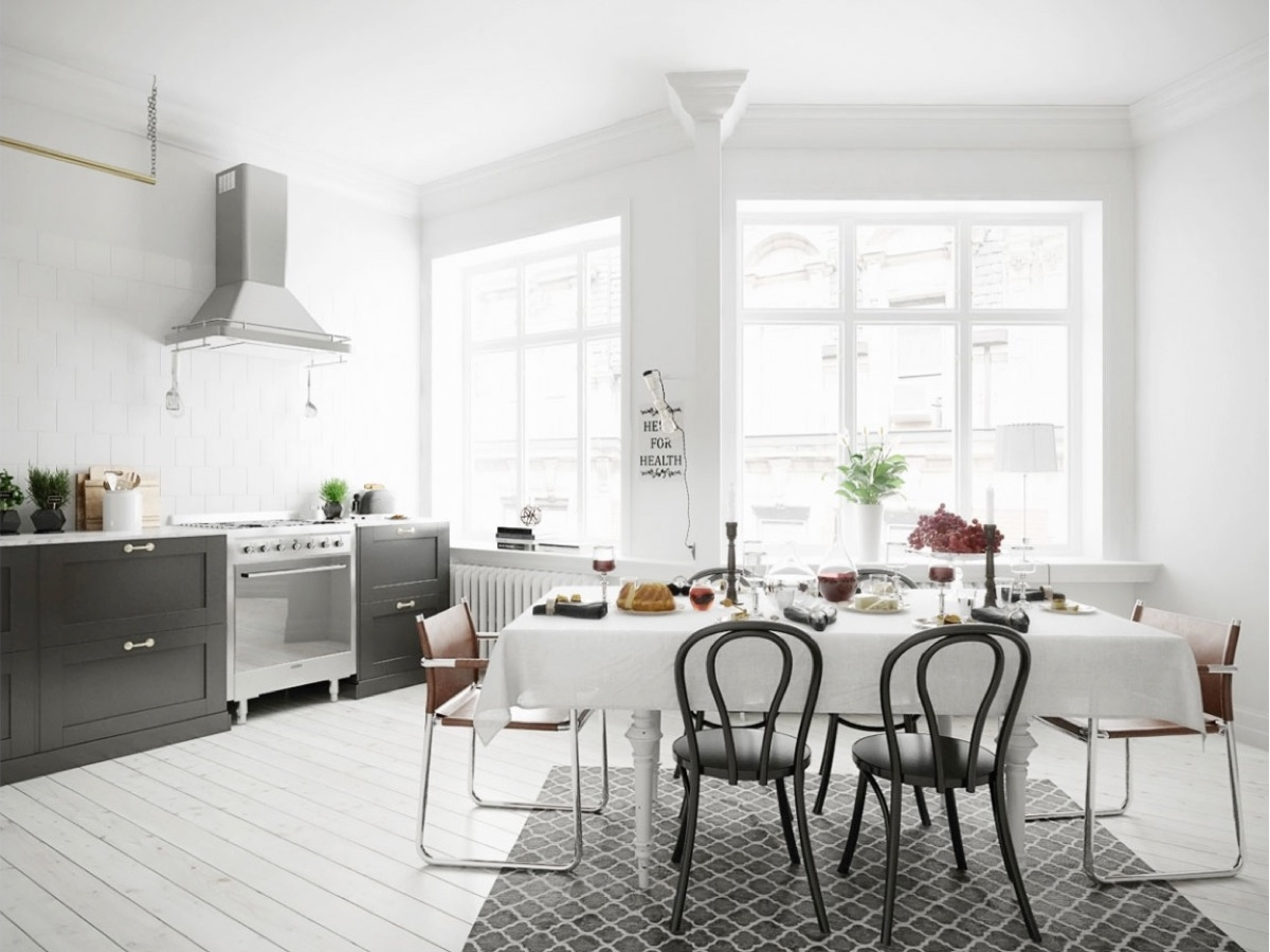 Scandinavian black and white dining room