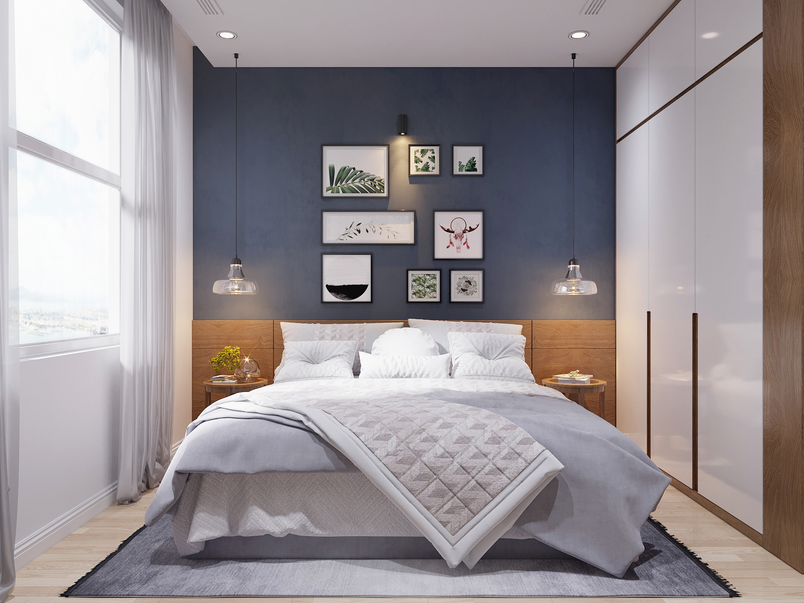 Scandinavian deep-blue-bedroom-accent-wall